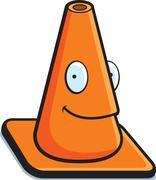 traffic cone smiling - stock illustration