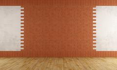 empty room with brick wall - stock illustration