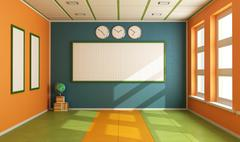 Stock Illustration of empty colorful classroom