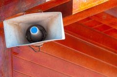 Industrial loudspeaker outdoors - stock photo