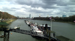 Chelsea Bridge and Chelsea Embankment. Editorial Only Stock Footage
