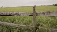 Old fence and field Stock Footage