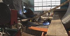 4K Welding a steel pipes Stock Footage