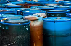 Several barrels of toxic waste - stock photo