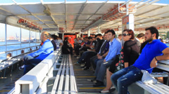 Passengers sitting out on the deck of a boat Stock Footage