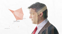 Portrait of businessman on white background with city visual - stock footage