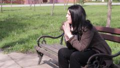 Depressed Woman Praying Stock Footage