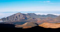 haleakala volcano crater - stock photo
