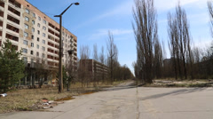 Pan of abandoned pripyat city, site of the chernobyl nuclear accident Stock Footage