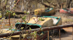closeup of plants with bumper cars from pripyat ukraine, chernobyl - stock footage
