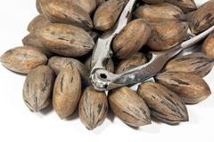 silver nutcracker with pile of pecan nuts - stock photo