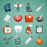 medical icons set - stock illustration