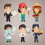 Professions cartoon characters set Stock Illustration