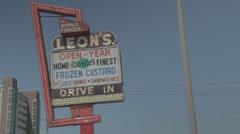 Leon's Frozen Custard Sign Stock Footage