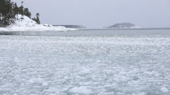 rolling waves in the ice chunks - stock footage