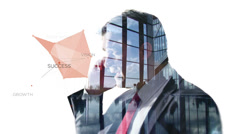 Portrait of businessman on white background with city visual Stock Footage