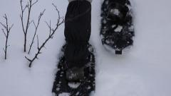 Walking with snowshoes Stock Footage