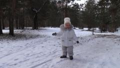 Girl Walk, Run and Enjoy First Snow in Winter Park. Steady Cam. Stock Footage