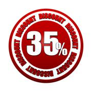 35 percentages discount 3d red circle label - stock illustration