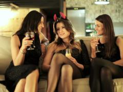 Three young women having fun at the hen party Stock Footage