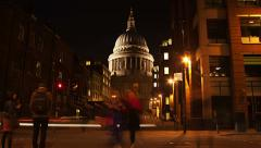St Paul's Cathedral Timelapse Night Stock Footage