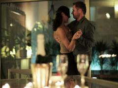 Young couple dancing during a romantic evening Stock Footage