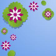 Decorative Waterlily Flowers Stock Illustration