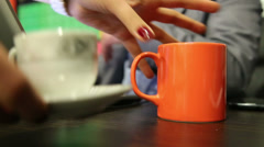 Girl is serving coffee to businessman in office. Stock Footage