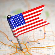 United States of America Small Flag on a Map Background. - stock illustration