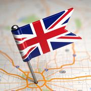 Great Britain Small Flag on a Map Background. Stock Illustration