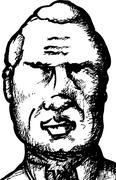 sketch of senior man - stock illustration