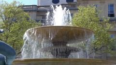 Medium shot of a fountain in Trafalgar Square Stock Footage