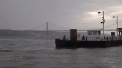 Harbor traffic with Ferry and speed boat, lisbon Portugal Stock Footage