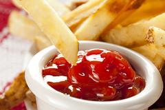 fresh crispy french fries - stock photo