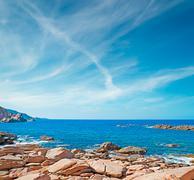 orange rocks in costa paradiso - stock photo
