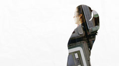 Portrait of businesswoman on white background with city visual Stock Footage