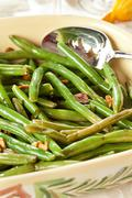 fresh organic cooked green beans - stock photo