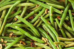 Fresh organic cooked green beans Stock Photos