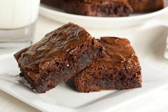 fresh homemade chocolate brownie - stock photo