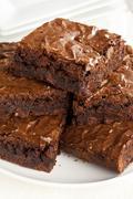 fresh homemade chocolate brownie - stock photo