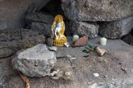 Stock Photo of Makeshift Shrine in the Rocks