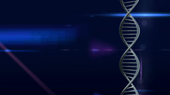 Blue lens flare black ground with double helix dna strand CGI effect - stock footage
