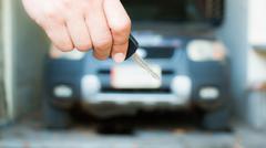 Hand with a Car keys Stock Photos