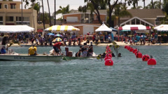 Dragon Boat Crew Bailing Water - stock footage