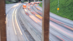 4K Motion Controlled Dolly Time Lapse of Freeway Bridge in Downtown LA -Pan- Stock Footage