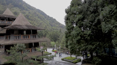 View of the front of   formosan aboriginal culture village Stock Footage