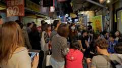 People waiting for popular restaurant at fenjia night market in taichung Stock Footage