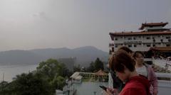 Pan of sun moon lake from wen wu temple Stock Footage