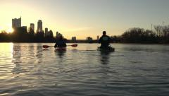 Stock Video Footage of Sunrise Kayaking over the Colorado River