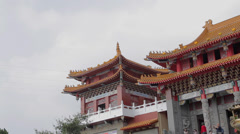 the front of wen wu temple pan medium - stock footage